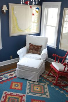 Primary Color Scheme:the simplest or most basic color schemes. The pure hues of red yellow and blue. They are often used for children's play equipment and surrounding environments. Native American Nursery, Native American Rugs, Comic Book Rooms, Comic Books, Themed Nursery, Nursery Themes, Aztec Nursery, Red Dresser, Indian Theme