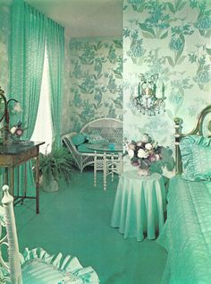 Vintage Everyday Life Mint on Mint Bedroom - Kitschatron How much water does a lawn really need? Retro Room, Vintage Room, Bedroom Vintage, 1950s Bedroom, Vintage Homes, Mint Rooms, Green Rooms, Bedroom Turquoise, Bedroom Green
