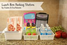 Lunch Box Packing Station #BTSIdeas #shop #cbias http://dukesandduchesses.com/2013/09/lunch-box-packing-station