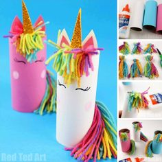 Toilet Paper Roll Unicorn for Preschoolers - Red Ted Art - Make crafting with kids easy & fun - - One Toilet Paper Roll. One Unicorn Theme - 3 DIFFERENT Toilet Paper Roll Unicorn Crafts! From Toilet Paper Roll Unicorn for Preschoolers to Unicorn Puppet. Winter Crafts For Kids, Easy Crafts For Kids, Craft Activities For Kids, Summer Crafts, Toddler Crafts, Preschool Crafts, Easter Crafts, Recycled Crafts For Kids, 5 Year Old Crafts