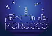 Morocco city line silhouette and typographic design