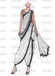 Fashion Design Drawing Buy DIY Sonam Kapoor Inspired Dhoti Saree online from the wide collection of sari. This White colored sari in Faux Georgette fabric goes well with any occasion. Shop online Designer sari from cbazaar at the lowest price. Fashion Drawing Dresses, Fashion Illustration Dresses, Dress Illustration, Fashion Dresses, Fashion Design Drawings, Fashion Sketches, Fashion Sketchbook, Trendy Fashion, Fashion Art