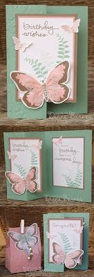 z fold birthday card & matching gift bag using Stampin Up Watercolor Wings, Butterfly Basics & Endless Birthday Wishes. Bag made with gift bag punch board. By Di Barnes #colourmehappy #stampinup