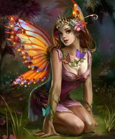 Fairy with jeweled butterfly wings. Fairy Pictures, Fantasy Pictures, Fantasy Artwork, Magical Creatures, Fantasy Creatures, Elfen Tattoo, Elves And Fairies, Butterfly Fairy, Butterfly Wings