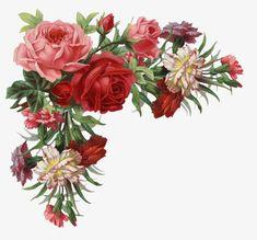 Blumenranken - Tendrils of flowers - Vrilles de fleurs Vintage Rosen, Vintage Diy, Vintage Images, Wedding Vintage, Flower Frame, Flower Art, Vintage Flowers, Vintage Floral, French Images