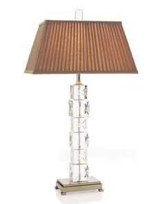 I love this lamp with stacked crystal blocks with alternating X's and O's on a nickel plated base.   Xoxo, John-Richard