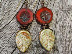 20% off  Flower Leaf Earrings Picasso Czech Glass by BonArtsStudio