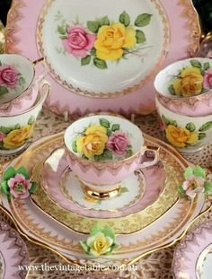 Beautiful tea set in Pink and White with yellow and pink roses and gold filigree decoration. Just lovely