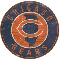 """Chicago Bears State with Logo 24"""" Round Sign"""