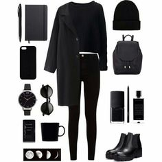 Find images and videos about style, black and outfit on We Heart It - the app to get lost in what you love. Kpop Fashion Outfits, Edgy Outfits, Grunge Outfits, Fall Outfits, Look Fashion, Teen Fashion, Korean Fashion, Fashion Black, Fashion Tips