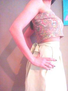 Circle, high waisted skirt, light blue    Elastic printed fabric on  top