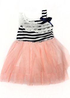 GroopDealz | Girl's Navy Stripe Asymmetrical Tank Dress #groopdealz