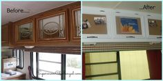 add cork board over the mirrored doors, brilliant Motorhome Renovation - Before & After Cork Cupboards