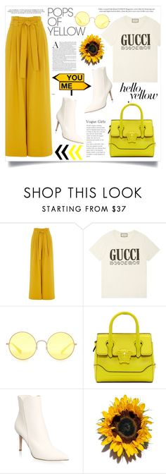 """Get Happy: Pops of Yellow"" by anchilly23 ❤ liked on Polyvore featuring River Island, Gucci, Ray-Ban, Versace and Gianvito Rossi"