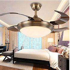AorakiLights Invisible Remote Control White Brown Ceiling Fan With Variable Lights White Lampshades Retractable Fan Blades Modern Simple LED Fan Lights for Living Room Indoor 42 Inch Best Ceiling Fans, Look Good Feel Good, Fan Blades, Living Room Lighting, Lampshades, Modern Lighting, Indoor, Ceiling Lights, Led