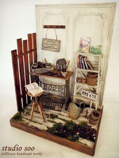 junk garden by studio soo, via Flickr [idea for dollhouse garden room box]