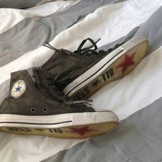 Today's shoe.  Camo varvatos Converse Hi tops.