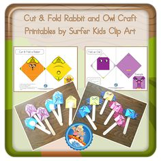 Cut and fold crafts are great for primary grade students, and with these owl and rabbit craft printable pages they will enjoy. Rabbit Crafts, Owl Crafts, Classroom Activities, Classroom Decor, Surfer Kids, Very Clever, Wise Owl, Art For Kids, Clip Art