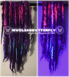 #UVdreads #handmade #nvcl3arbvtt3rfly #wooldreads #galaxyhair #galaxydreads #nebula #UVhair #glowinghair Wool Dreads, Dreadlocks, Galaxy Hair, Synthetic Hair Extensions, Faux Locs, Braids, Glow, Hair Styles, Handmade