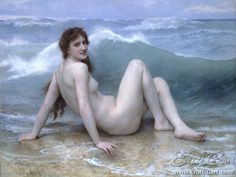 The Wave : Erotic/Nude painting by William-Adolfe Bouguereau.  1825 – 1905