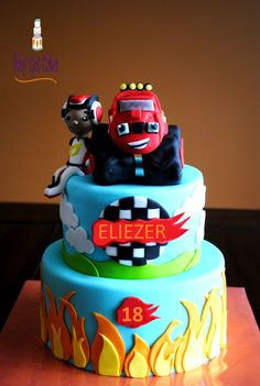 This Blaze and the Monster Machines birthday cake is totally blazing! *by Cake Central, (birthday cake making) Torta Blaze, Bolo Blaze, Blaze Cakes, Blaze Birthday Cake, 3rd Birthday Cakes, 4th Birthday Parties, Birthday Fun, Birthday Ideas, Third Birthday