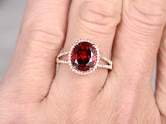 Big 8x10mm Natural Garnet Engagement ringDiamond by popRing with white gold