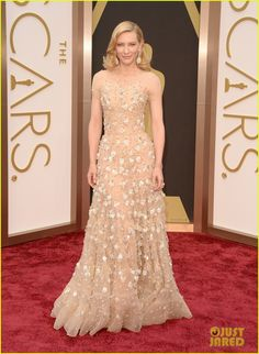 Cate Blanchett at the 2014 Academy Awards held at the Dolby Theatre on Sunday (March 2) in Hollywood. Cate is wearing an Armani Prive sleeveless nude gown featuring Swarovski crystals. She finished off her look with Chopard jewelry.