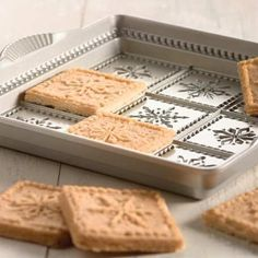 This snowflake shortbread pan helps you create delicately designed treats. These would be cute to stack and wrap for gifts.