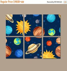 OUTERSPACE Wall Art PLANETS Canvas or Prints Baby Boy by TRMdesign