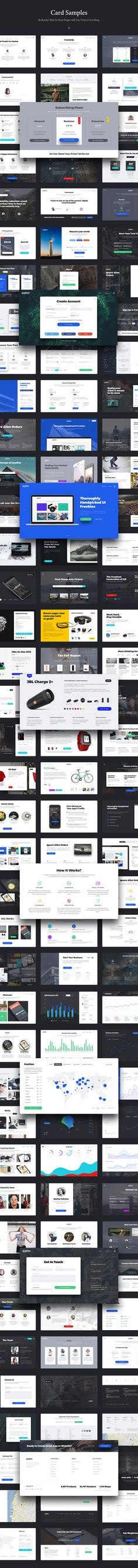 UPD: Sketch version was added. --- Singleton - perfect, fresh and stylish UI Kit for building beautiful Landing Pages. This clear and practical UI tool consists of 120 elegant cards in 12