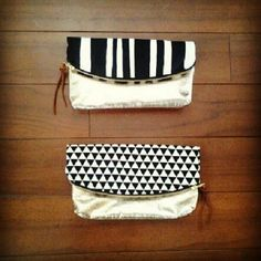 anne b: folded clutch with GOLD LEATHER - $60