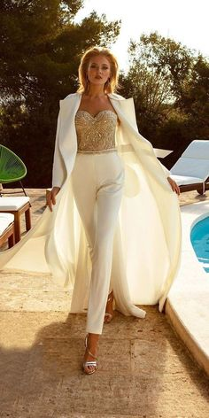 Trend 30 Wedding Pantsuit And Jumpsuit Ideas ★ wedding pantsuit ideas sweetheart strapless neckline sequins ariamo Best Wedding Dresses, Wedding Suits, Wedding Attire, Wedding Bride, Trendy Wedding, Prom Outfits, Mode Outfits, Fashion Outfits, Wedding Pantsuit