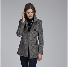 Womens black and white coat from Laura Ashley - £125 at ClothingByColour.com
