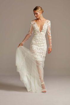 Embroidered Floral Illusion Bodysuit Wedding Dress Style Ivory, 14 soft chiffon and floral wedding dress<br> How To Dress For A Wedding, Luxury Wedding Dress, Wedding Dress Styles, Wedding Gowns, Floral Wedding, Fall Wedding, Dream Wedding, Bridal Gowns, Wedding Stuff