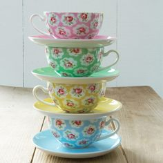 Provence Rose Set of 4 Teacups & Saucers, love these!!!!!!!