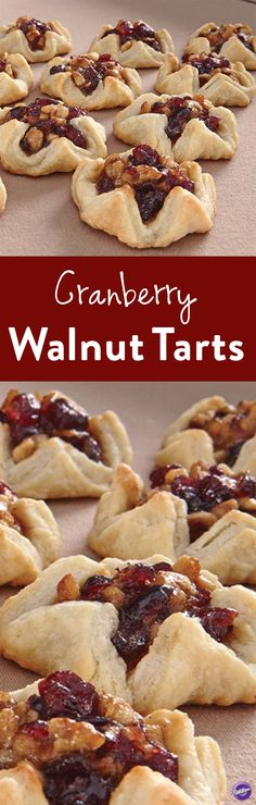 Cranberry Walnut Tarts Recipe - A beautiful dessert to make this fall, these cranberry walnut tarts are a crowd- pleaser. Add a cup of orange marmalade or apricot preserves for additional flavor. Serve at family gatherings or celebration parties. Potluck Desserts, Desserts To Make, Party Desserts, Fall Desserts, Christmas Desserts, Christmas Baking, Delicious Desserts, Dessert Recipes, Dessert Party