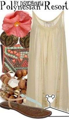 Polynesian Resort: casual dress, sandals, flower for hair.