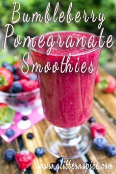 Bumbleberry Pomegranate Smoothies made with strawberries, raspberries, blueberries, huckleberries and pomegranate juice.