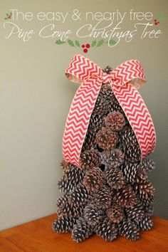 Creative DIY Ideas for Your Christmas Tree - Pine Cone Christmas Tree - Cool Handmade Ornaments, DIY Decorating Ideas and Ornament Tutorials - Cheap Christmas Home Decor - Xmas Crafts #christmas #diy #crafts Pine Cone Christmas Tree, Alternative Christmas Tree, Christmas Tree Design, Christmas Tree Crafts, Christmas Tree Decorations, Holiday Crafts, Christmas Time, Cheap Christmas, Handmade Ornaments