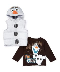 This White Frozen Olaf Hooded Vest & Long-Sleeve Tee - Toddler is perfect! #zulilyfinds