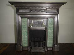 Rare Antique Victorian Cast Iron Tiled Fireplace Large London