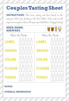 Beer Tasting Party from Liz and Ryan Beer Tasting Party - tasting sheet Beer Tasting Parties, Wine Tasting Notes, Beer Names, Drinking Games For Parties, Beer Pairing, Cheese Party, Beer Festival, Cute Wedding Ideas, Wine And Beer