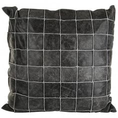 Kussens - leather grey cushion with fill square L