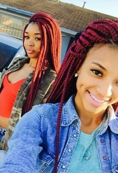 Orange and Red Box Braids
