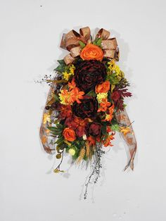 Fall Door Swag, Fall Peony Swag, Front Door Swag, Fall Wreath For Front