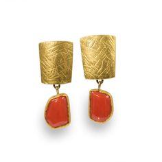 Coral Drop Earrings by Nancy Michel | coral earrings gold nancy michel post/nut