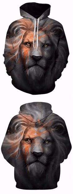 Kangaroo Pocket Paint Lion Print Hoodie
