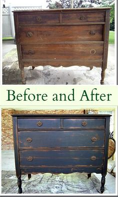 distressed furniture Before and After Furniture Makeover featuring a vintage vanity. The vanity is painted with Caromal Colours paint, distressed, toned, and waxed. The furniture makeover is one of my favorite. I love the black paint. Painting Wooden Furniture, Black Furniture, Refurbished Furniture, Repurposed Furniture, Shabby Chic Furniture, Furniture Makeover, Antique Furniture, Cool Furniture, Rustic Furniture