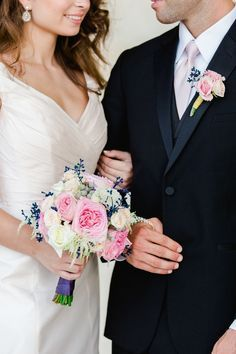 Royal Blush Photo Shoot | Wedding in Tampa Bay | Pink and white garden rose bouquet with blue accents. #andrealaynefloraldesign #tampaweddings