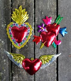 Mexican Tin Milagros Ornaments - SOLD SEPERATELY - Hearts Flames Wings Folk Art